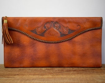 Art Nouveau Purse, Meeker Purse, Oversized Leather Clutch, Tooled Leather Handbag, Brown Embossed Pocketbook, Retro Steerhide Purse