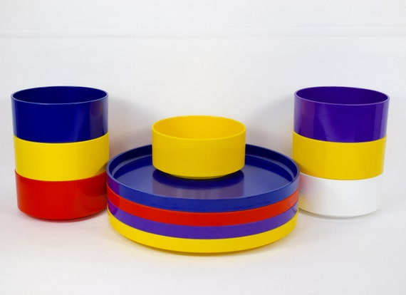 Set Of Heller Design Massimo Vignelli Dinnerware Plates And Etsy