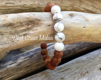 Howlite & Narra Wood Beaded Mala Bracelet, Meditation Bracelet, Yoga Bracelet