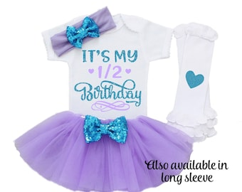 Half Birthday Girl Outfit 6 Month Personalized Purple 1 2 Shirt BH14
