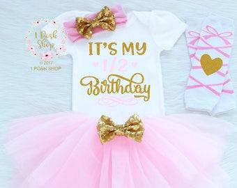 1 2 Birthday Baby Half Outfit Girl My Shirt BH14