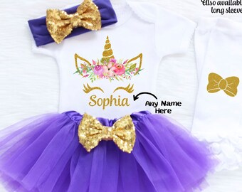 Personalized Unicorn Birthday Outfit, First Birthday Outfit Girl, First Birthday Outfit For Girl, Unicorn Birthday Outfit, 1st Birthday U1