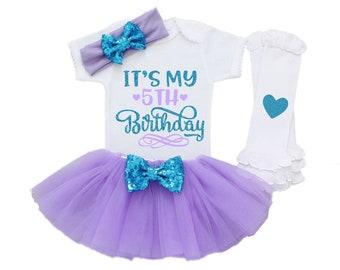Fifth Birthday Girl Outfit Shirt 5th Tutu BFF8