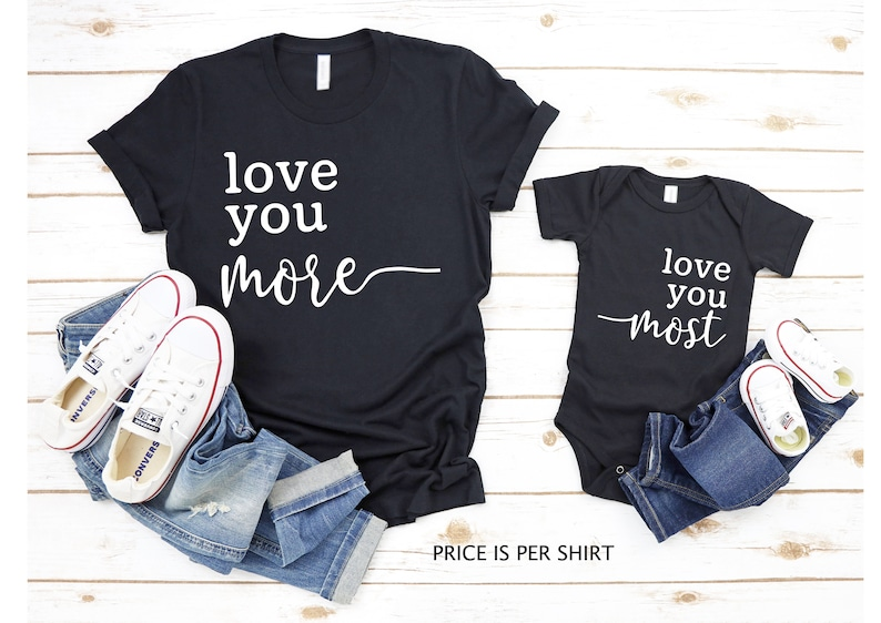 Mommy and Me Shirt Set Mother and Son Mother and Daughter Matching Shirts Love You Most Love You More Mom Son Matching Shirt Set