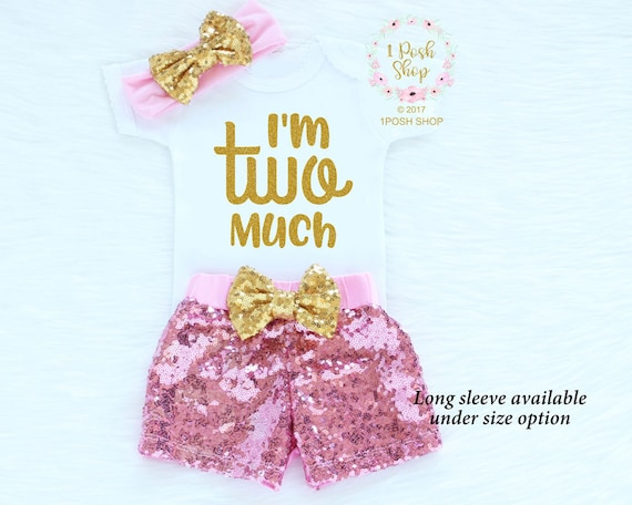 dcb2adeb7 I'm Two Much 2nd Birthday Girl Outfit 2nd Birthday | Etsy