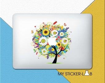 Abstract Tree MacBook Decal Tree MacBook Sticker Tree Decal Apple Tree Apple Logo Decal Spring Seasons Abstract Art Nature Flowers cmac049