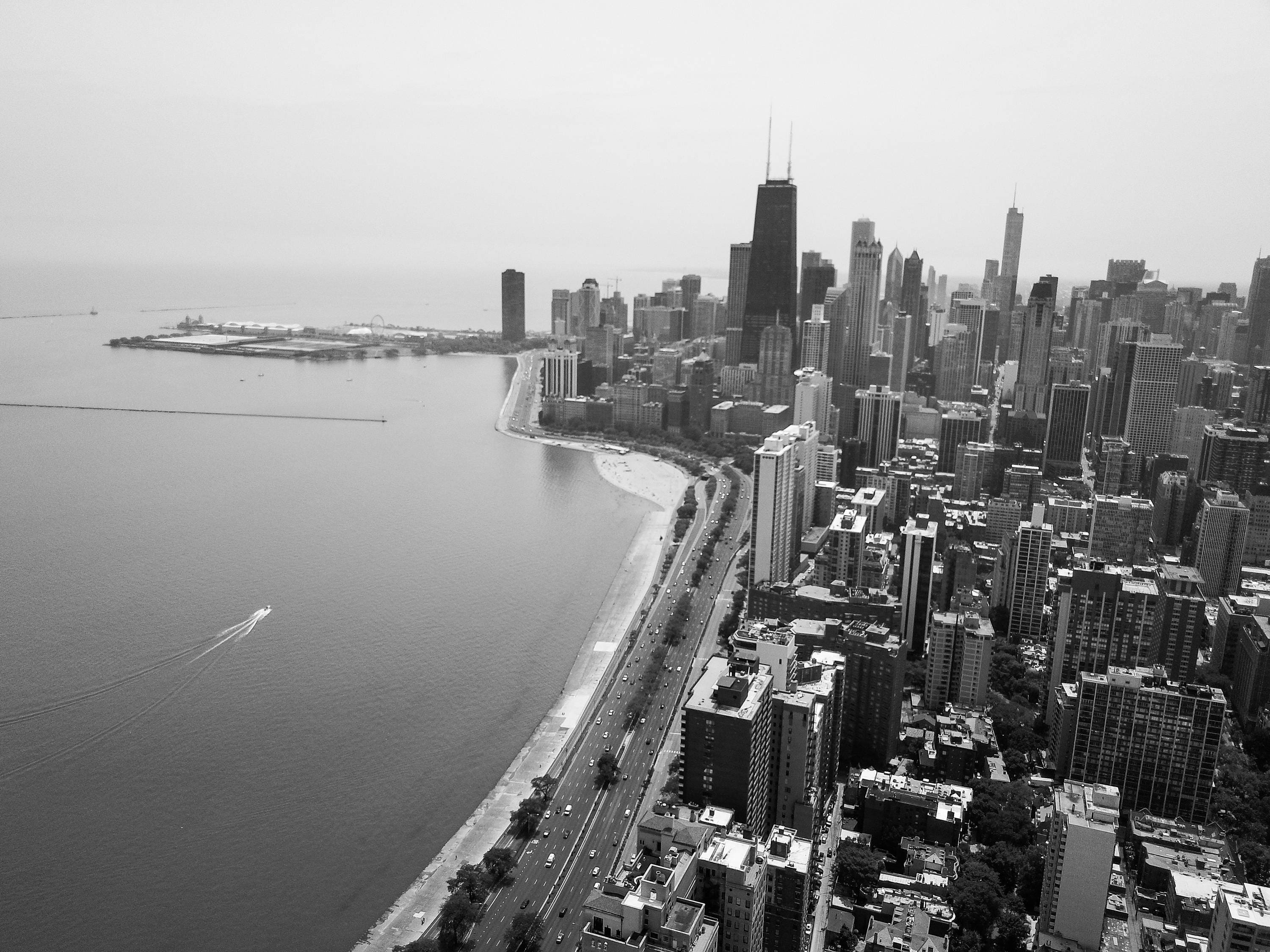 City Skyline Black White Chicago Wall Art Picture Canvas Aerial Photography