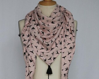 Scarf spring and summer pastel pink with white birds - customizable by its handmade tassels
