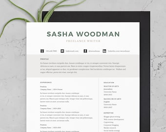 One page resume etsy resume template minimal resume cover letter 1 page resume 2 page resume microsoft word mac pages instant download altavistaventures Choice Image