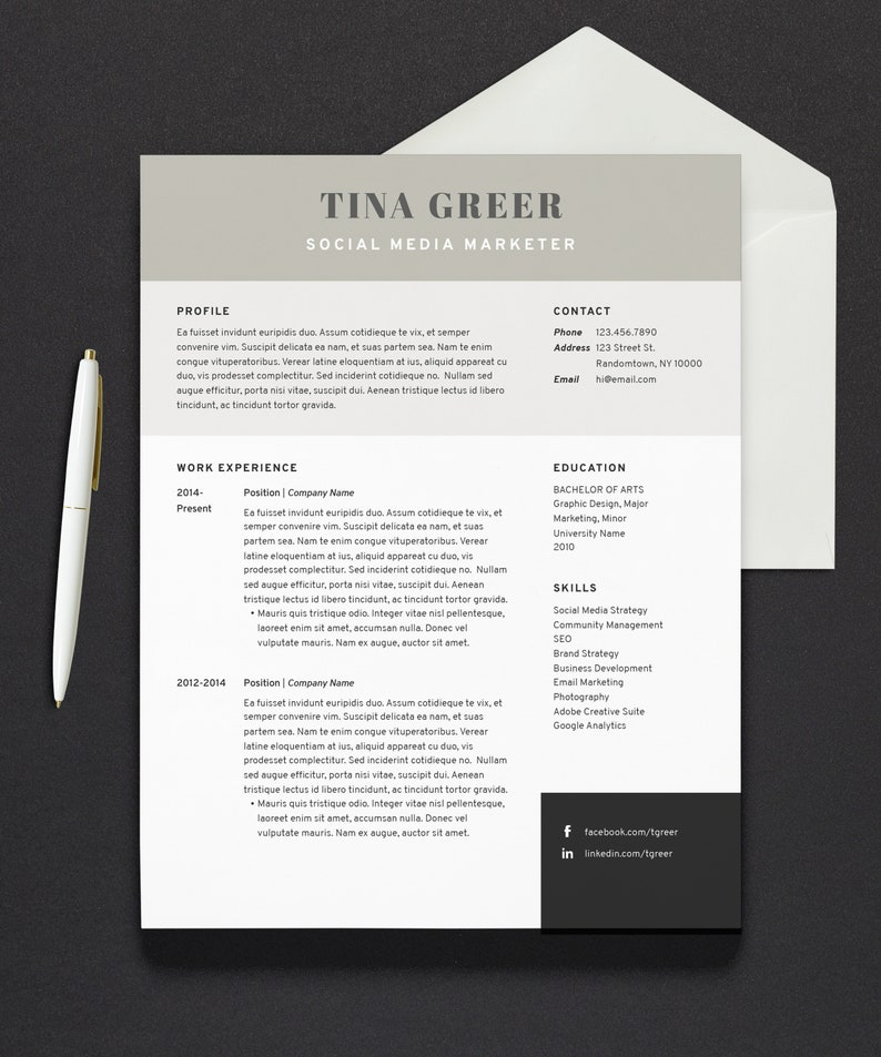 Resume Template | Modern Resume | Cover Letter | 1 Page Resume | 2 Page  Resume | Microsoft Word | Mac Pages | Instant Download