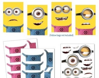 Despicable Me Minions Favor Bags Printables -- DIGITAL -- Pink and Blue Party Bag Printables