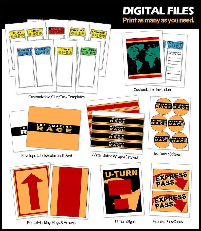 photograph about Clue Cards Printable named Outstanding Race Get together Printables -- Electronic -- Customizable clue playing cards and invites, flags, indicators, and even further!
