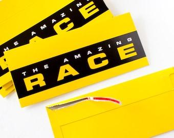 Amazing Race yellow tear-strip envelopes - Set of 10
