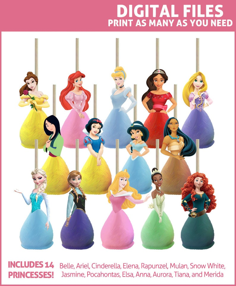 8ec20166c97 Disney Princess Cake Pop Toppers Printables DIGITAL All