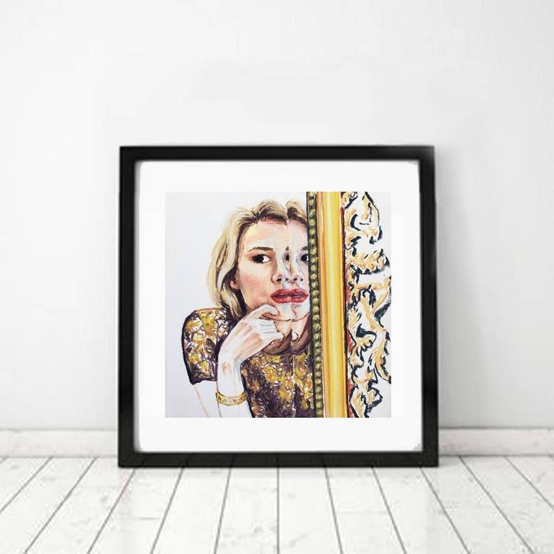 Checking Make-up in Mirror print of original artwork by image 0