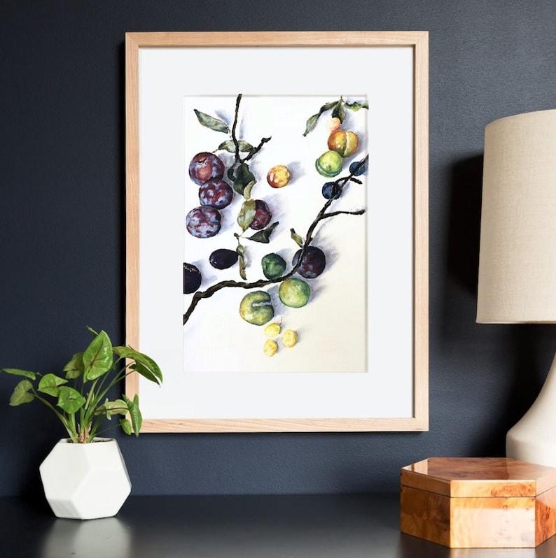 Plums Print of Original Artwork by Amanda Steines pastel on image 0