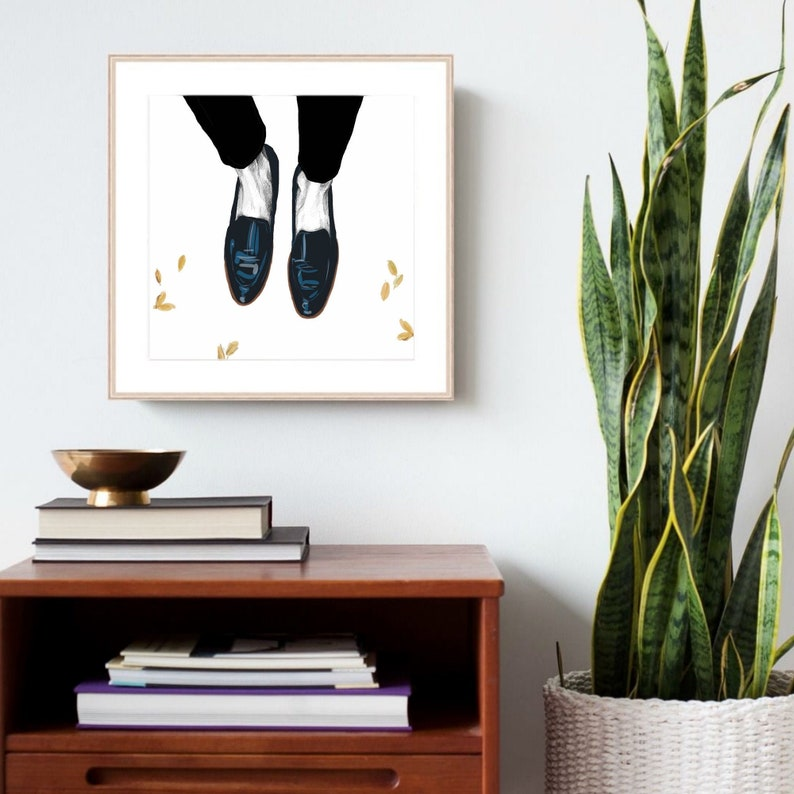 Black Shoes Fashion Illustration Print of original artwork by image 0