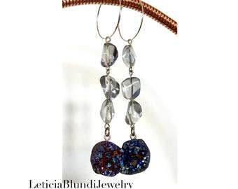 Blue Raw Crystals Hoop Earring