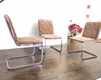 Mid Century Modern Milo Baughman Style 3 Dining / Side Chairs