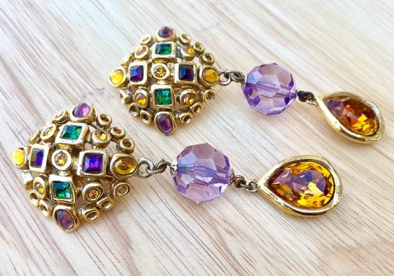 Vintage rhinestone earrings, vintage rhinestone cl