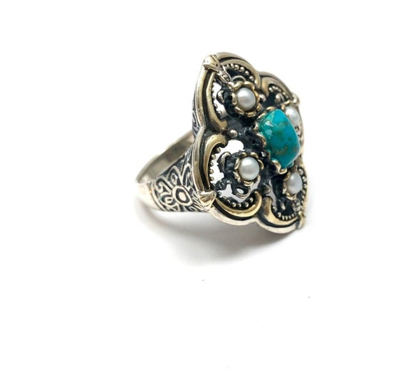 Vintage turquoise ring, sterling silver turquoise