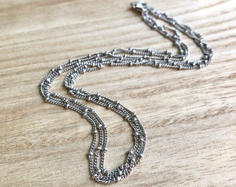 Vintage sterling silver triple dotted chain, made In Italy, Italian sterling silver chain necklace, dot chain sterling silver 925