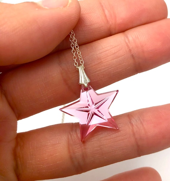 Pink Swarovski crystal star pendant necklace, Swa… - image 3