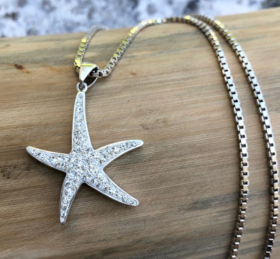 925 Sterling Silver Nautical Necklace Charm Pendant with Chain Starfish with Beaded Texture
