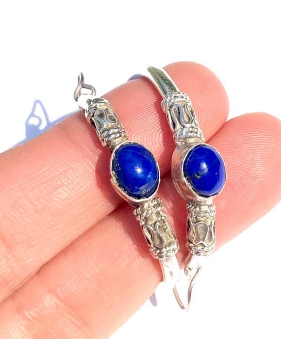 Lapis hoops, lapis vintage earrings, sterling silv