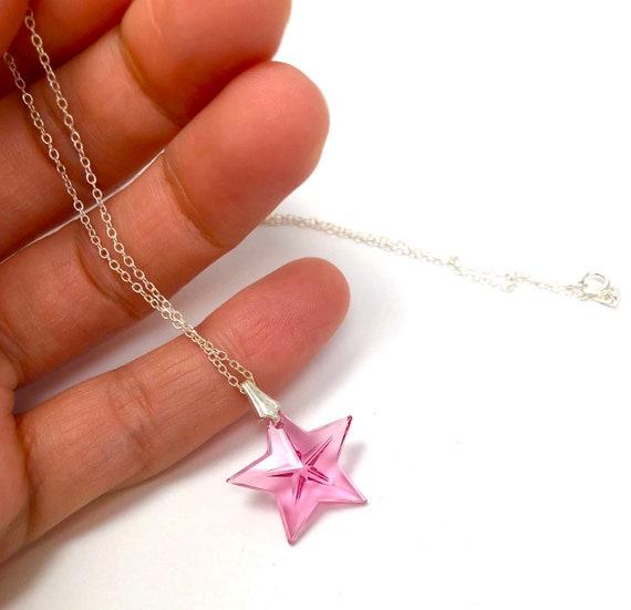 Pink Swarovski crystal star pendant necklace, Swa… - image 2