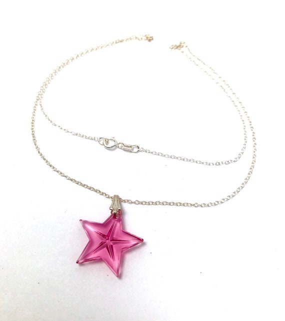 Pink Swarovski crystal star pendant necklace, Swa… - image 1