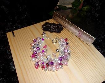 Rose Colored Glasses-Chunky Bracelet, Women's Bracelet, Beaded, Handmade, Celestial Crystal Glass Pearls, Ice Flake Quartz, Pink, Purple