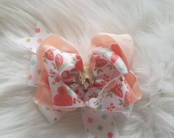 6 in double stacked peach floral bow