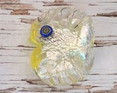 Venetian Murano Glass Fish Bead , Handmade Murano Glass Beads , Silver Foil Fish Bead , Handmade Glass Focal Beads , 35mm x 44mm