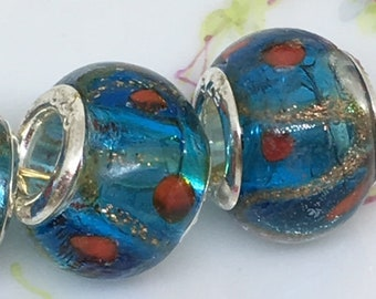 4 Blue & Copper Murano Style Glass Beads ,  European Charm Bracelet Beads ,  Charm Beads , Large Hole Beads , 10mm x 14mm
