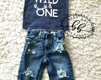Wild & One/Wild One Shirt/Wild One birthday outfit/Baby boy distressed jeans/ripped jeans/boy/photo prop/hand distressed denim/birthday gift