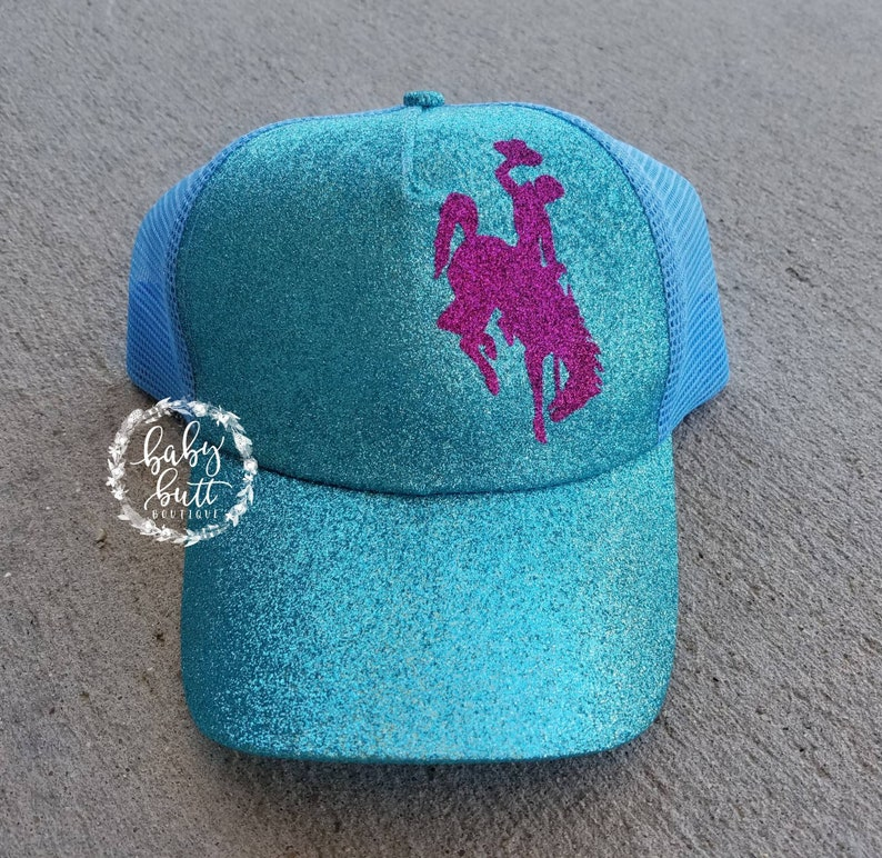 968bc4101 Official licensed wyoming bucking horse hat messy bun hat ponytail hat  wyoming gear wyoming woman hat tiffany blue and pink wyoming hat wyo