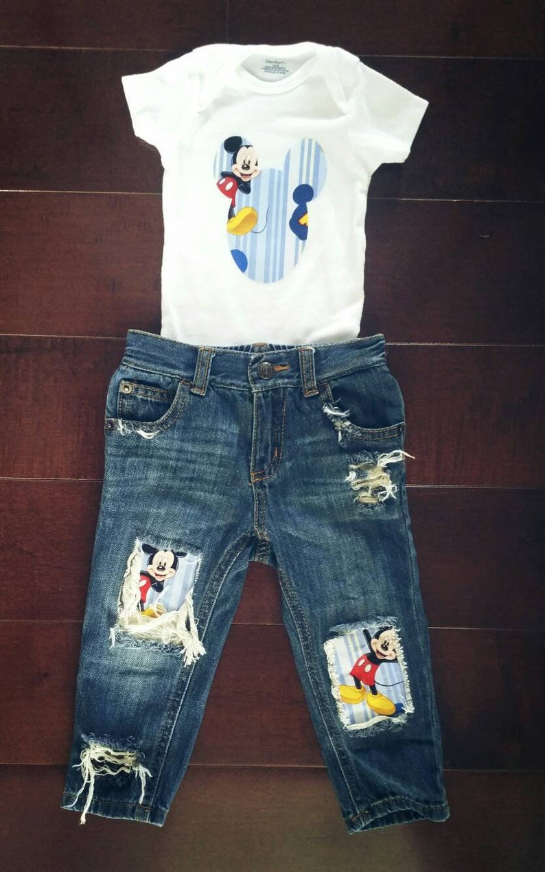 Mickey mouse inspired kids distressedpatched jeans for mickey birthday.Boy outfit for birthday photos.Shower gift for the character lovers