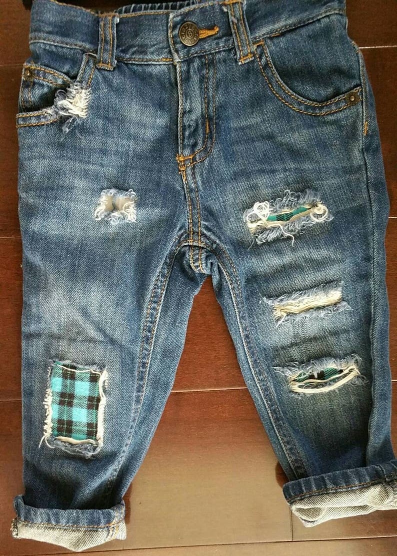 33bd647e837 Baby boy/boy/distressed denim/ripped jeans/patched | Etsy