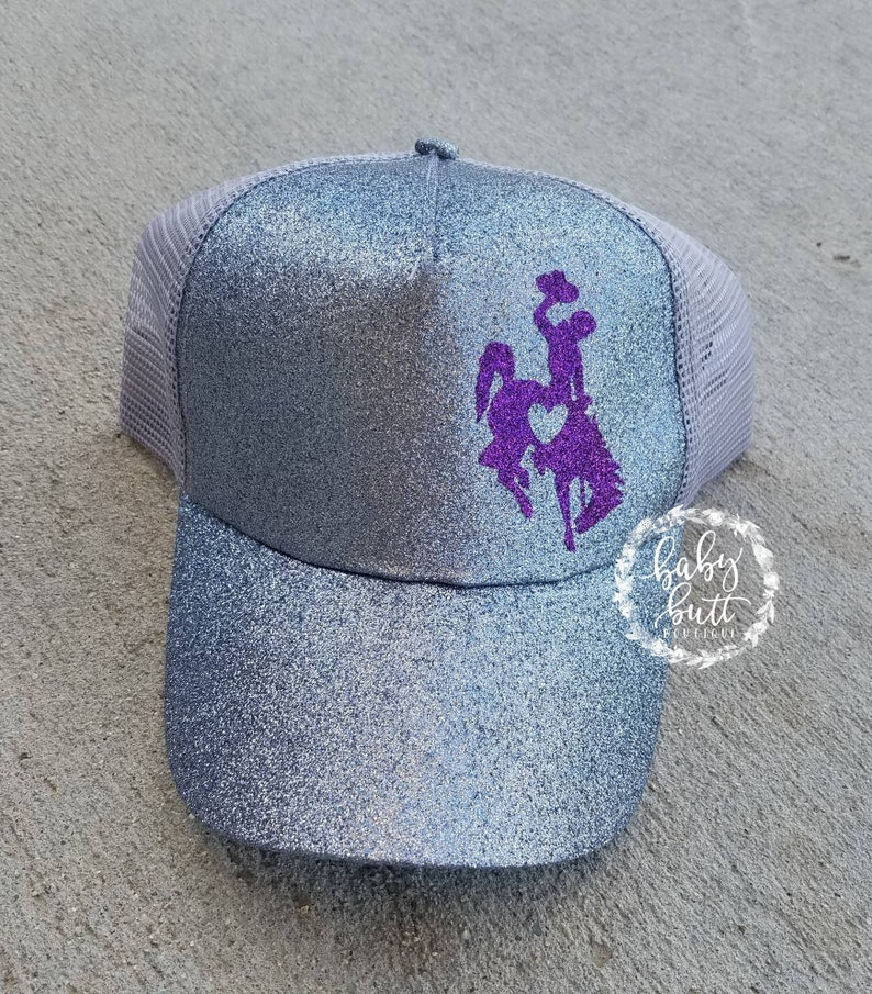 Official licensed wyoming cowboys love trucker/ponytail hat for women  Wear  your state wyoming pride while being unique,bold,and colorful