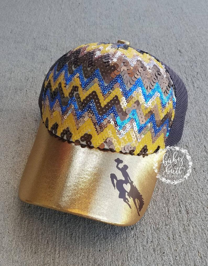 Wyoming hat/official licensed Wyo gear/wyo bucking horse hat/women  hat/sequin wyo hat/steamboat/uw state hat/messy bun hat/ponytail hat/wyo