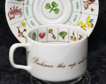 Fortune Telling Teacup & Saucer, Vintage, International Collectors Guild, Tea Leaf Reading, Fortune, Future, Astrology, Zodiac, Game