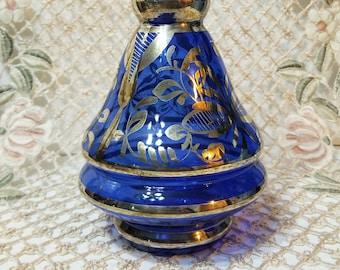 Cobalt Blue Glass Decanter, 1960's, Silver Overlay, Vintage Bottle, Retro