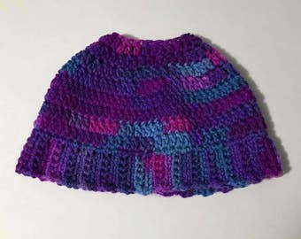 Children's messy bun hat