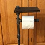 Industrial Style freestanding single roll toilet paper holder with phone shelf - BEST SELLER