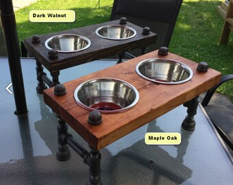 industrial style raised dog bowl stand | steampunk style | raised dog bowl stand | Dog Feeder