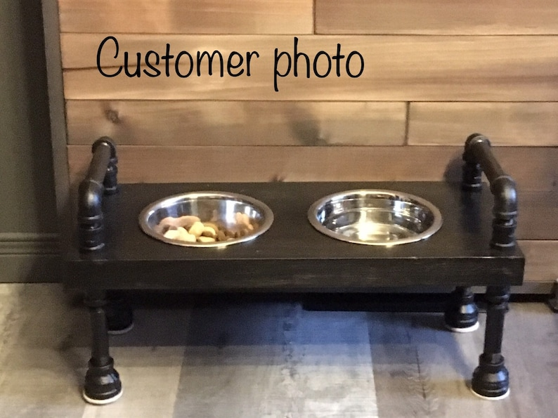 Rustic 2 bowl Raised dog bowl feeder  Retro elevated dog image 0
