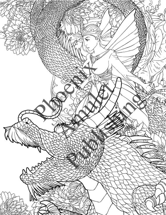 Dragon and Fairy PDF downloadable printable coloring page for adults