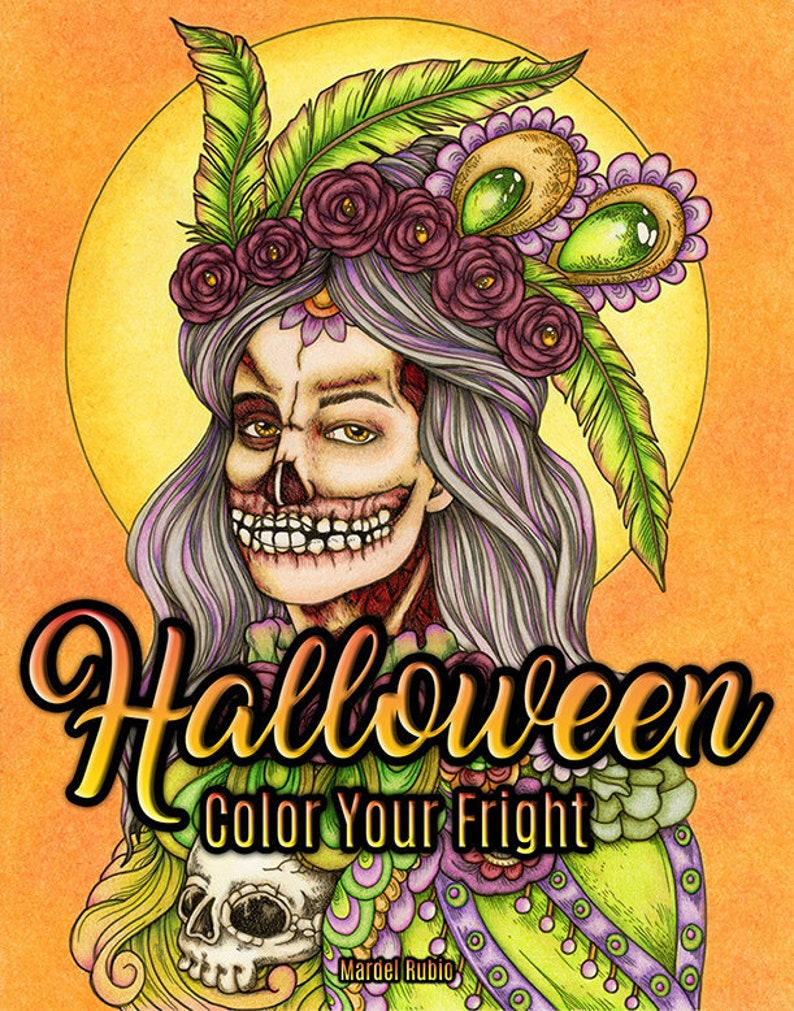 Halloween Color Your Fright Pdf Adult Coloring Book By Mardel Etsy