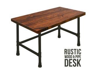 Merveilleux Desk, Pipe Desk, Industrial Style Desk, Chic Rustic Wood Desk, Urban Wood  Desk, Office Desk, Computer Desk, Wood Desk